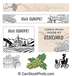 Vineyard Travel Banner Assets and Concept Layout, Hand drawn...