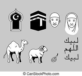 Hajj Theme Stock Black White - Vector illustration stock for...