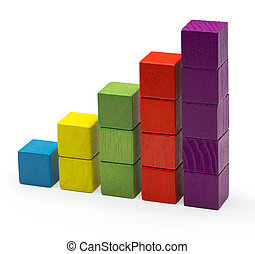Infographic Blocks Chart, Stack Bar Growth, Toy Bricks Isolated