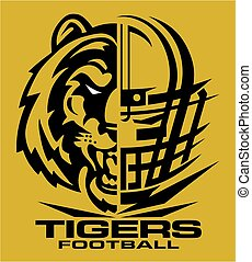 tigers football team design with mascot and facemask for...