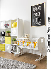 Cradle in nursery - Cute white wooden cradle in white...
