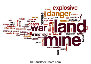 Land mine word cloud concept - Land mine word cloud