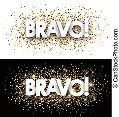 Bravo paper banner - Bravo paper banner with shining sand...