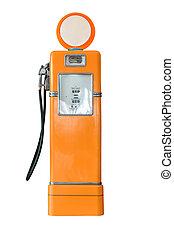 Vintage orange fuel pump on white - Old orange petrol...