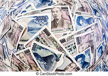 Banknotes of the Japanese Yen Currency - Many of the...