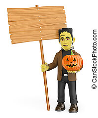 3D Funny monster. Frankenstein with a blank wooden sign and a pumpkin. Halloween
