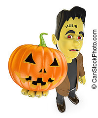 3D Funny monster. Frankenstein with a big pumpkin. Halloween