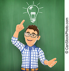 3D Young student with a bulb light on a chalk. Idea concept...