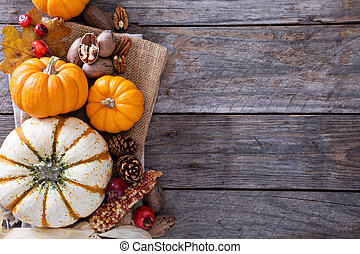 Fall harvest concept - nuts and pumpkins - Fall harvest...