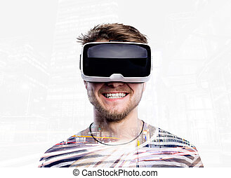 Double exposure Man wearing virtual reality goggles Night...