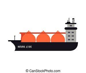 natural gas ship icon - flat design natural gas ship icon...