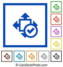 Accept size framed flat icons - Set of color square framed...
