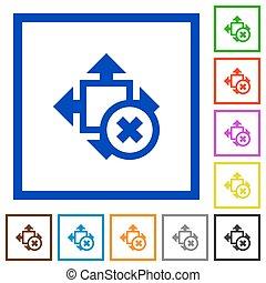 Cancel size framed flat icons - Set of color square framed...