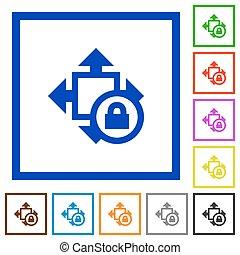 Size lock framed flat icons - Set of color square framed...