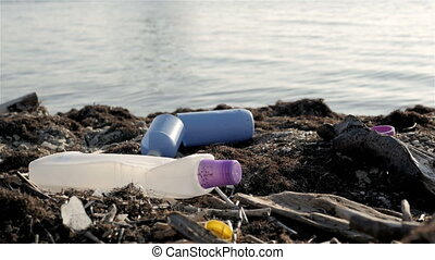 Dump Garbage On The Beach Near The Sea, Environmental...
