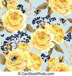 Seamless vintage flowers - Vintage roses and berries vector...