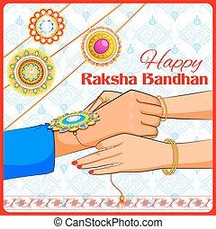 Brother and Sister tying rakhi on Raksha Bandhan -...