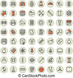 Thin line icons for science, technology and medical