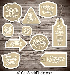 Stickers on rustic wood background Vector illustration