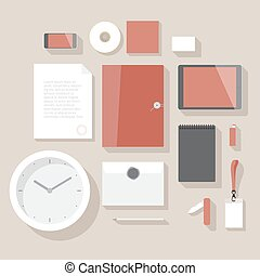Corporate identity mock-up - Flat design corporate identity...