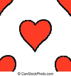 Seamless pattern with red heart sign