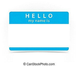 Blue color name tag blank sticker HELLO