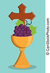 cup gold grapes religion icon Vector graphic - cup gold...