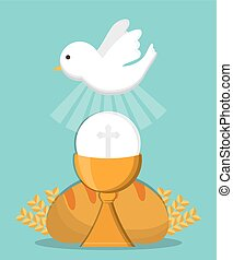 dove cup bread gold religion icon Vector graphic - dove cup...