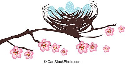 birds nest - vector bird nest with eggs