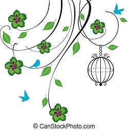 cage swirls - vector swirls with flowers and bird cage