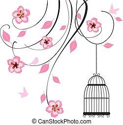 cage swirls - vector floral swirls aand bird cage