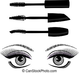 eye mascara - vector eyes with mascara