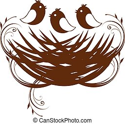 three birds - vector bird nest