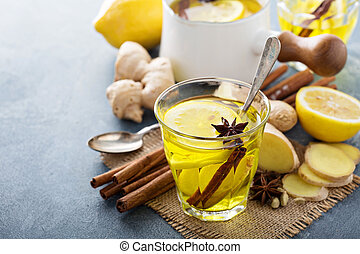 Ginger tea with lemon - Hot ginger tea drink with lemon -...