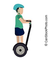 person on segway icon - flat design person on segway...