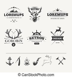 Hipster labels set with deer and antlers. Vintage animal...