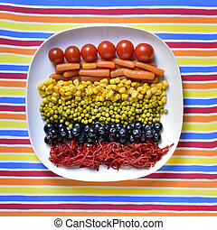 vegetables forming the rainbow flag - high-angle shot of a...