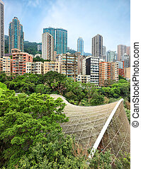 Residencial area of Hong Kong - View on residential area of...