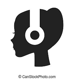 person profile earphone icon vector illustration design