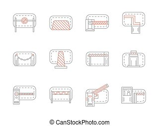 Set of barrier and stopper flat line vector icons - Concrete...