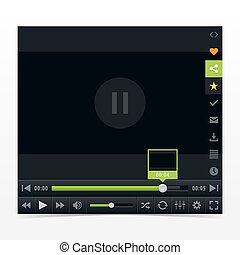 Black media player with video loading bar. Contemporary...