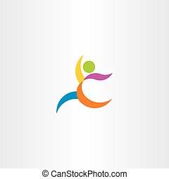 colorful logo vector athletic man running icon