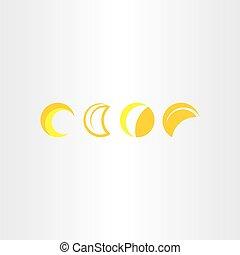 half moon vector icon set symbol - half moon vector icon set...