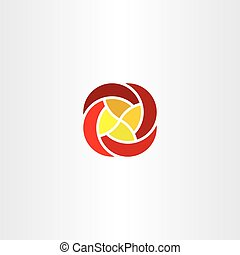 red yellow flower business tech logo icon vector sign - red...