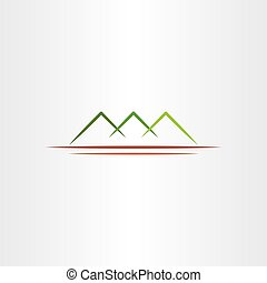 simple stylized green mountain vector icon design symbol -...