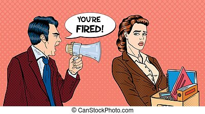 Angry Boss Screaming in Megaphone and Fireing Woman. Pop Art...