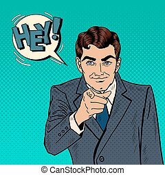 Successful Businessman Pointing Finger at You. Pop Art Vector illustration