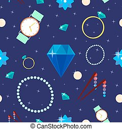 Woman Fashion Seamless Pattern with Jewelry and Diamonds. Vector background