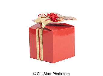 Red Chocolate candy box with  bow isolated
