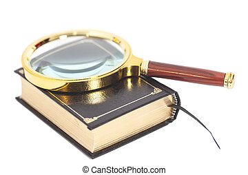 Book with magnifying glass over white background